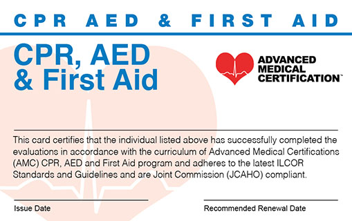CPR, AED & First Aid Provider Card